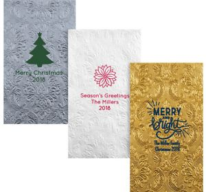Personalized Christmas Embossed Damask Guest Towels