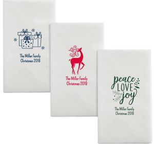 Personalized Christmas Luxury Deville Side-Fold Dinner Napkins