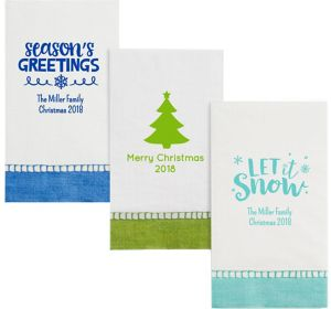 Personalized Christmas Bordered Guest Towels