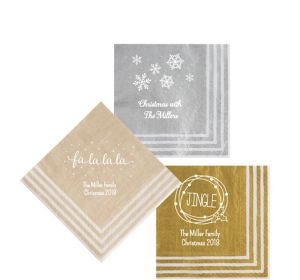 Personalized Christmas Stripe Border Beverage Napkins