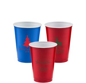 Personalized Christmas Solid-Color Plastic Party Cups 10oz