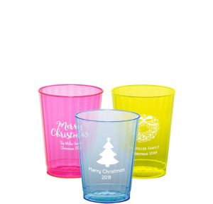 Personalized Christmas Neon Hard Plastic Cups 10oz