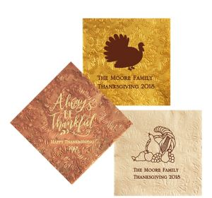 Personalized Thanksgiving Embossed Damask Lunch Napkins