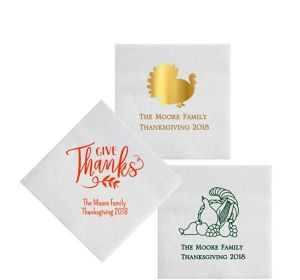 Personalized Thanksgiving Luxury Deville Beverage Napkins