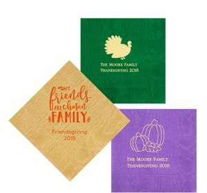 Personalized Thanksgiving Moire Lunch Napkins