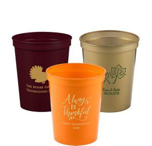 Personalized Thanksgiving Plastic Stadium Cups 16oz