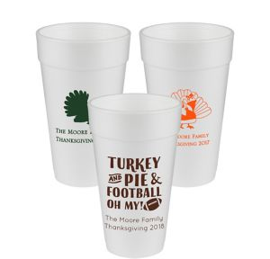 Personalized Thanksgiving Foam Cups 20oz