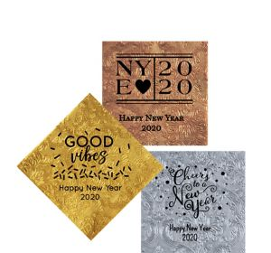 Personalized New Year's Embossed Damask Beverage Napkins