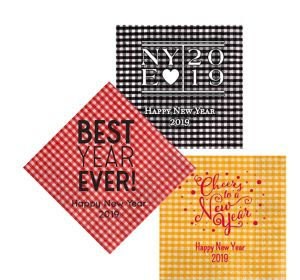 Personalized New Year's Gingham Lunch Napkins
