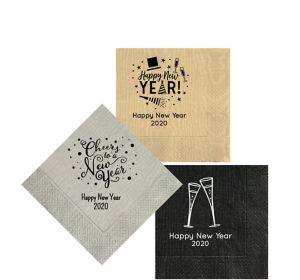Personalized New Year's Moire Beverage Napkins