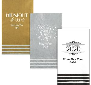 Personalized New Year's Stripe Border Guest Towels