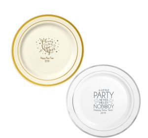 Personalized New Year's Trimmed Premium Plastic Dinner Plates
