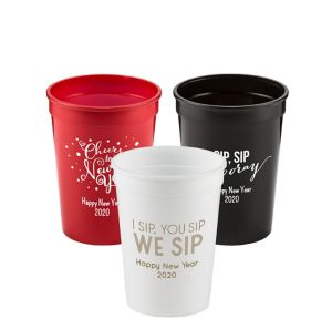 Personalized New Year's Plastic Stadium Cups 12oz