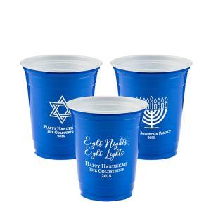 Personalized Hanukkah Solid-Color Plastic Party Cups 12oz