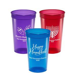 Personalized Hanukkah Translucent Plastic Stadium Cups 22oz