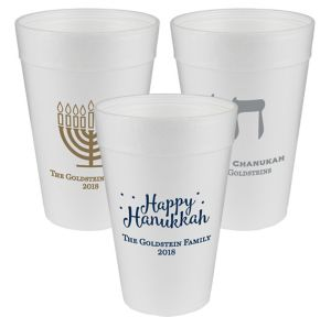 Personalized Hanukkah Foam Cups 32oz