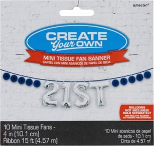 Mini Create Your Own Royal Blue Paper Fan Banner