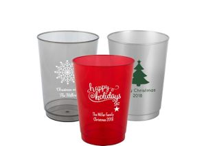 Personalized Christmas Hard Plastic Color Cups 10oz