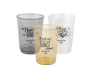 Personalized New Year's Hard Plastic Color Cups 10oz