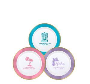 Personalized Luau Premium Round Trimmed Dessert Plates