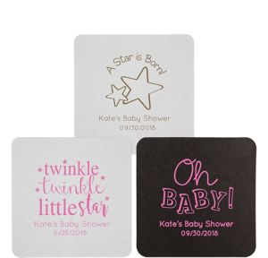 Personalized Baby Shower 40pt Square Coasters