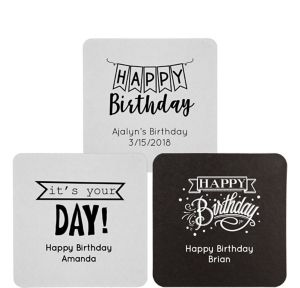 Personalized Birthday 40pt Square Coasters