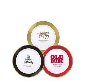 Personalized Milestone Birthday Premium Round Trimmed Dessert Plates