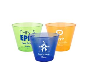Personalized Boys Birthday Hard Plastic Color Cups 9oz