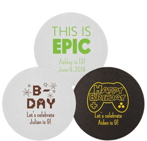 Personalized Boys Birthday 40pt Round Coasters