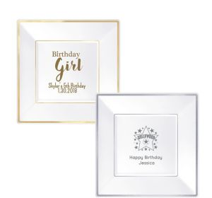 Personalized Girls Birthday Premium Square Trimmed Dinner Plates