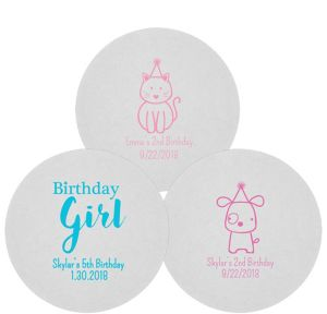 Personalized Girls Birthday 80pt Round Coasters
