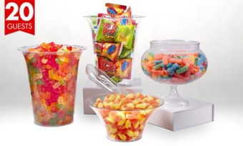 Branded Sour Candy & Gummy Candy with Containers for 20 Guests
