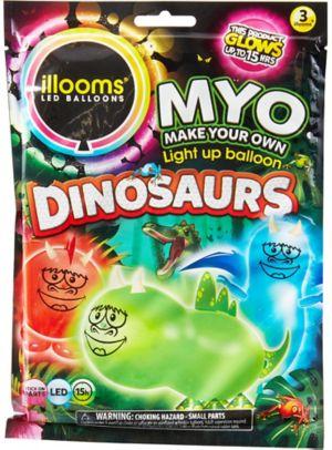 Illooms Light-Up Dinosaur LED Balloons 3ct