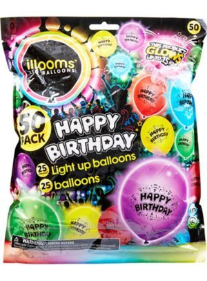 Illooms Light-Up Assorted Color Happy Birthday LED Balloons 50ct