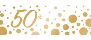 Giant Metallic Gold Dots 50th Anniversary Banner