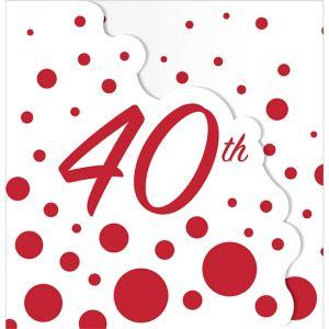 Ruby Dots 40th Anniversary Invitations 8ct