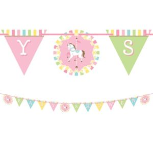 Pink Carousel Baby Shower Banner