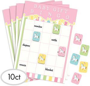 Pink Carousel Baby Shower Bingo Game