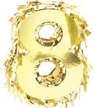 Metallic Gold Number 8 Pinata Decoration