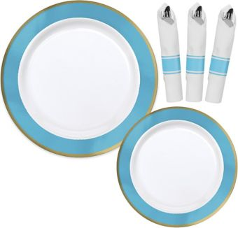 Premium Gold & Caribbean Blue Border Tableware Kit for 20 Guests
