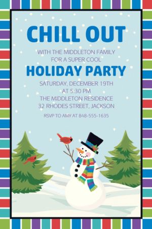 Custom Colorful Smiling Snowman Invitations