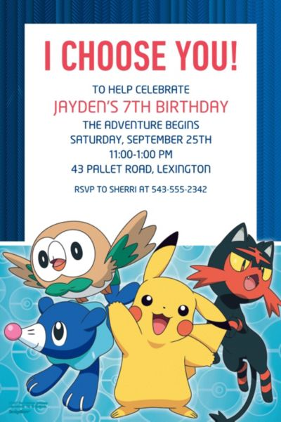 Custom Pokemon Core Invitations