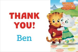 Custom Daniel Tiger's Neighborhood Thank You Notes