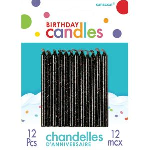 Black Glitter Birthday Candles 12ct