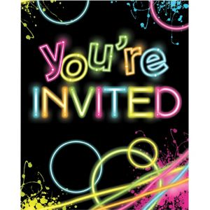 Neon Party Invitations 8ct