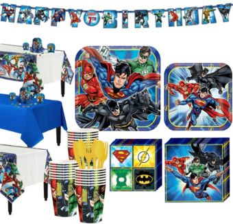 Justice League Tableware Party Kit for 24 Guests