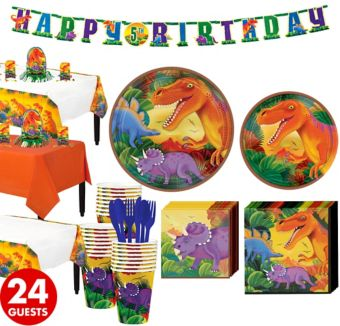 Prehistoric Dinosaurs Tableware Party Kit for 24 Guests