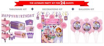 Sofia the First Tableware Ultimate Kit for 24 Guests