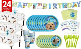 Party Pups Tableware Party Kit for 24 Guests