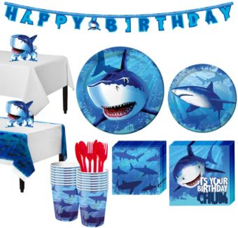 Shark Tableware Party Kit for 16 Guests